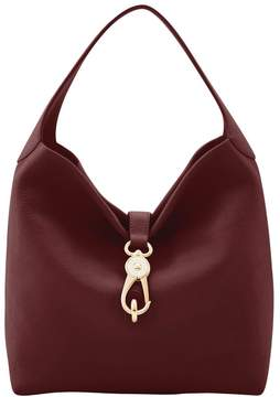 Dooney & Bourke Belvedere Logo Lock Shoulder Bag - BURGUNDY - STYLE