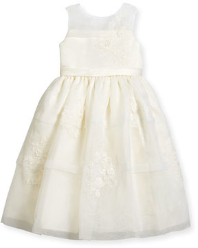 Joan Calabrese Sleeveless Satin & Tiered Organza Special Occasion Dress, Ivory, Size 4-14