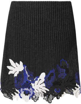 3.1 Phillip Lim Appliquéd Ribbed Wool-blend Mini Skirt - Black