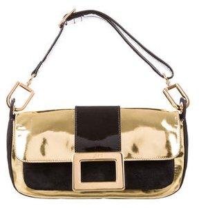 Roger Vivier Suede & Metallic Leather Shoulder Bag
