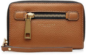 Marc Jacobs Leather Gotham Zip Phone Wristlet - BROWN - STYLE