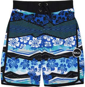 Skechers Blue & Black Floral Boardshorts - Boys