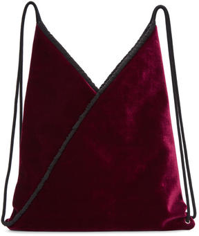 MM6 MAISON MARGIELA Burgundy Velvet Backpack