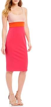 Donna Morgan Sleeveless Crepe Scoop Neck Midi Dress