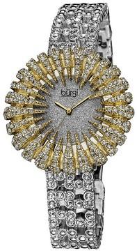 Burgi Sparkling Silver-Tone Crystal Set Metal Ladies Watch