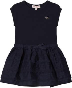 Lili Gaufrette Navy Textured Skirt Jersey Dress
