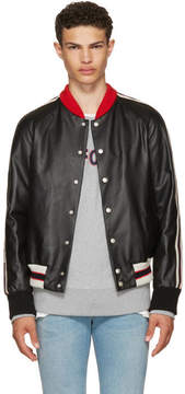 Gucci Black Leather Hollywood Bomber Jacket