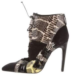 Bottega Veneta Suede & Snakeskin Ankle Boots