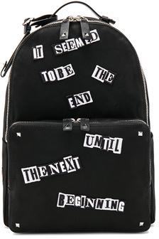 Valentino Printed Backpack in Black.