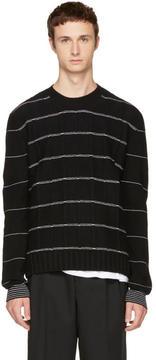 McQ Black Pinstripe Crewneck Sweater