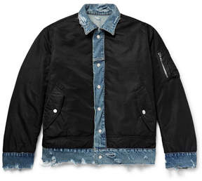 Amiri Reversible Shell And Distressed Denim Jacket