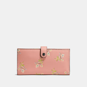 COACH Coach Slim Trifold Wallet In Glovetanned Leather With Floral Bow Print - BLACK COPPER/PINK - STYLE