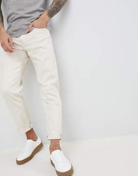 Selected Slim Tapered Jeans In White Denim