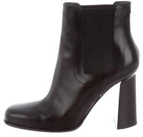Roger Vivier Leather Square-Toe Ankle Boots