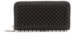 Christian Louboutin Panettone Spike Embellished Leather Wallet - Womens - Black