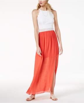 BCX Juniors' Lace-Bodice Gauze-Skirt Maxi Dress