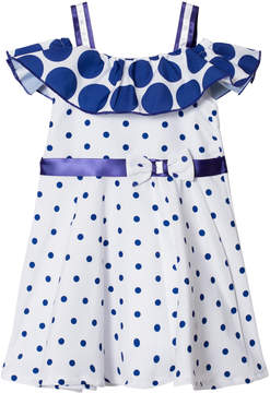 Bardot Dr Kid White and Blue Spot Dress