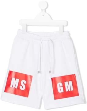 MSGM drawstring waist printed shorts