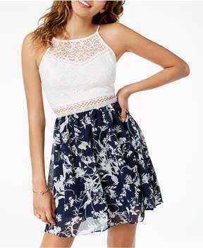 BCX Juniors' Lace Chiffon Fit & Flare Dress