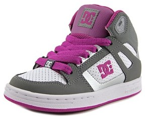 DC Rebound Youth Round Toe Leather Gray Skate Shoe.