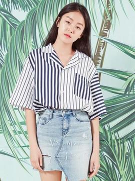 Blank [Unisex] Resort Stripe Shirt Wh