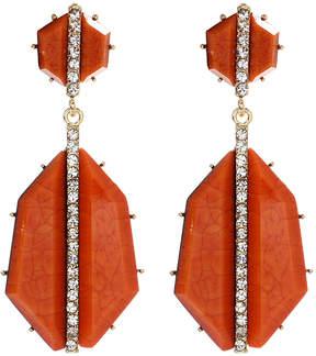 Amrita Singh Peach Crystal & Goldtone Art Deco Drop Earrings