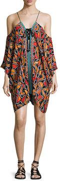 Nanette Lepore Mozambique Cold-Shoulder Lace-Up Caftan, Multicolor