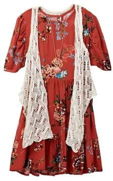 Beautees Floral Dress, Crochet Vest, & Necklace Set (Big Girls)