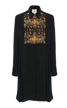Figue Emmanuel Embroidered Tuxedo Silk Tunic