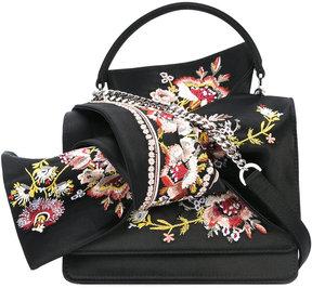 No21 floral embroidery shoulder bag