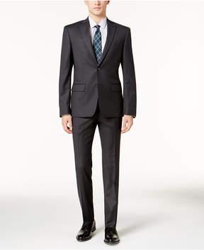 DKNY Men's Slim-Fit Charcoal & Burgundy Pinstripe Suit