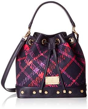 Juicy Couture Black Label Bucket Bag with Long Strap and a Drawstring Closure with Studded Grommets on the Bottom