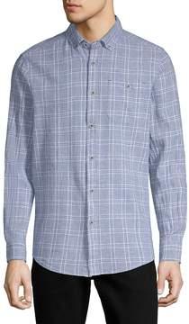 Report Collection Men's Textured Windowpane Button-Down Shirt