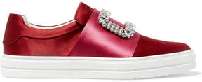 Roger Vivier Sneaky Viv Crystal-embellished Two-tone Satin Slip-on Sneakers - Red