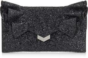 Jimmy Choo ISABELLA Black Coarse Glitter Fabric Clutch Bag