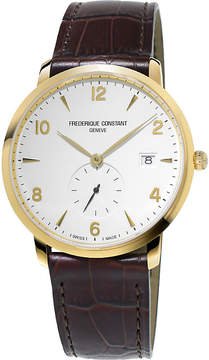 Frederique Constant FC245VA5S5 slimline gold-plated stainless stell and leather watch