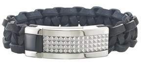 Armani Exchange Jewelry Mens Stainless Steel Pyramid Black Leather Bracelet.