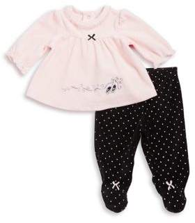Little Me Baby Girl's Two-Piece Top & Footed Pants Set