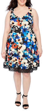 Donna Ricco Sleeveless Lace Bottom Floral Print Fit & Flare Dress - Plus