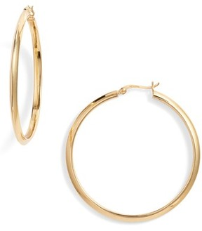 Argentovivo Women's Flat Edge Hoop Earrings