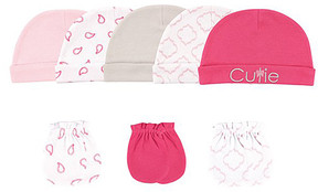 Luvable Friends Pink & White Cutie Beanie & Mitten Set - Newborn