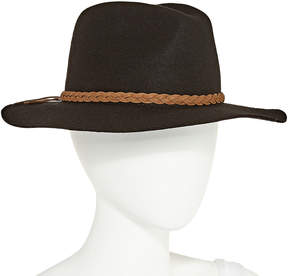 Scala Leather Braid Wool Panama Hat
