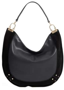 Sole Society Blaine Suede Trim Faux Leather Hobo - Black