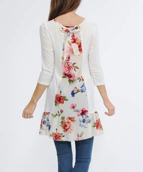 Celeste White Floral-Trim Three-Quarter Sleeve Tunic - Women