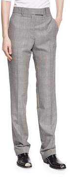 Calvin Klein Plaid Worsted Wool Straight-Leg Trousers