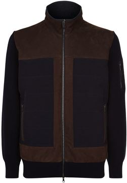 Paul & Shark Panelled Leather Knit Sleeve Jacket