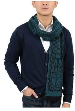 Versace It00634 Petrolio Teal 100% Wool Mens Scarf.