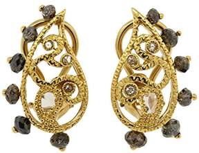 Coomi Vitality 18k Yellow Gold Rose Cut Dark Brown 2.34Ct Diamond Clip Earrings