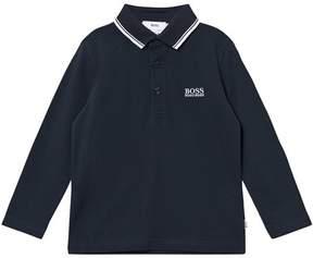 BOSS Dark Blue Long-Sleeved Polo Shirt
