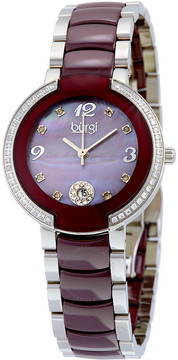 Burgi Mother of Pearl Dial Stainless Steel and Burgundy Ceramic Ladies Watch